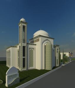 New Masjid View from Rio Linda Blvd  witn Monument